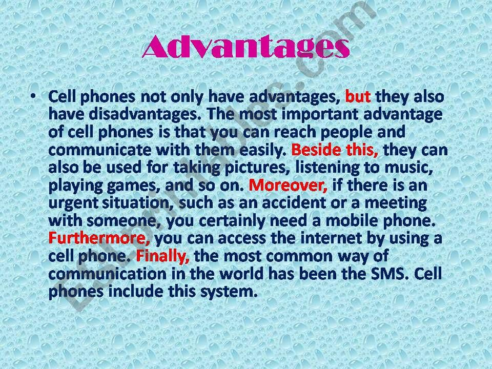 ESL - English PowerPoints: Essay form on mobile phones