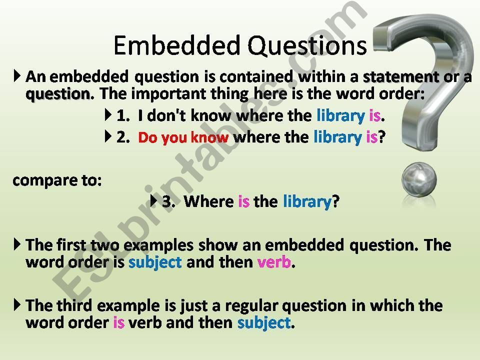 Embedded Questions powerpoint