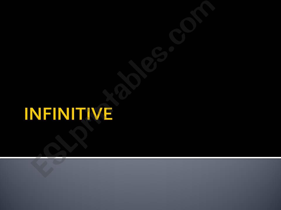 INFINITIVE +EXERCISES powerpoint