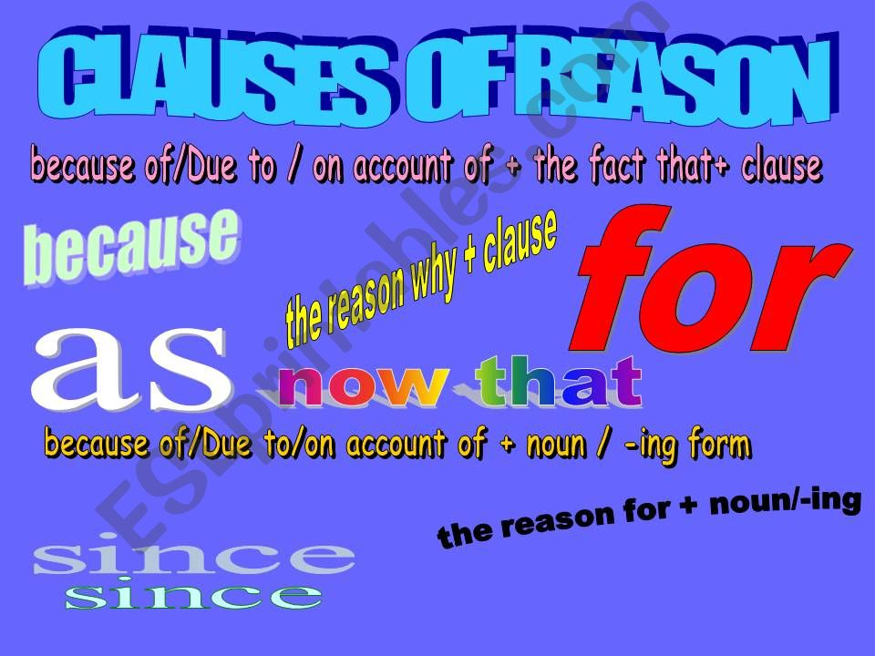 CLAUSES OF REASON powerpoint