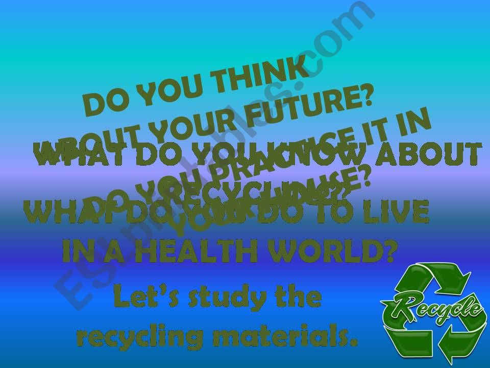 Recycled Material Part 1 powerpoint