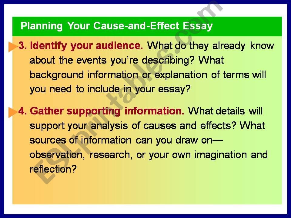ESL - English PowerPoints: cause effect essay