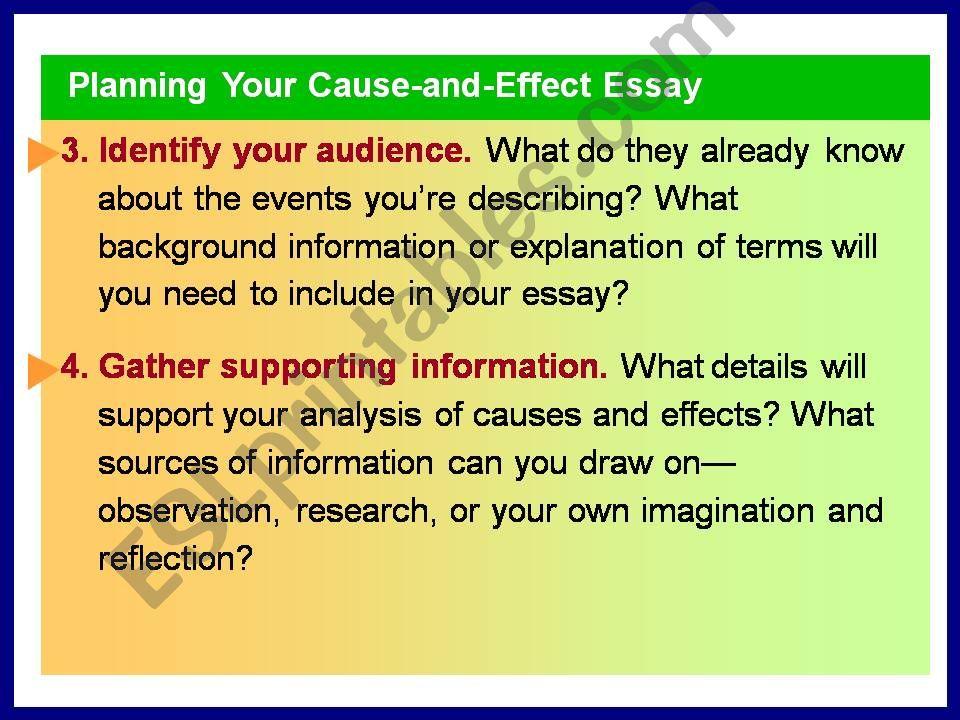ESL - English PowerPoints: cause effect essay