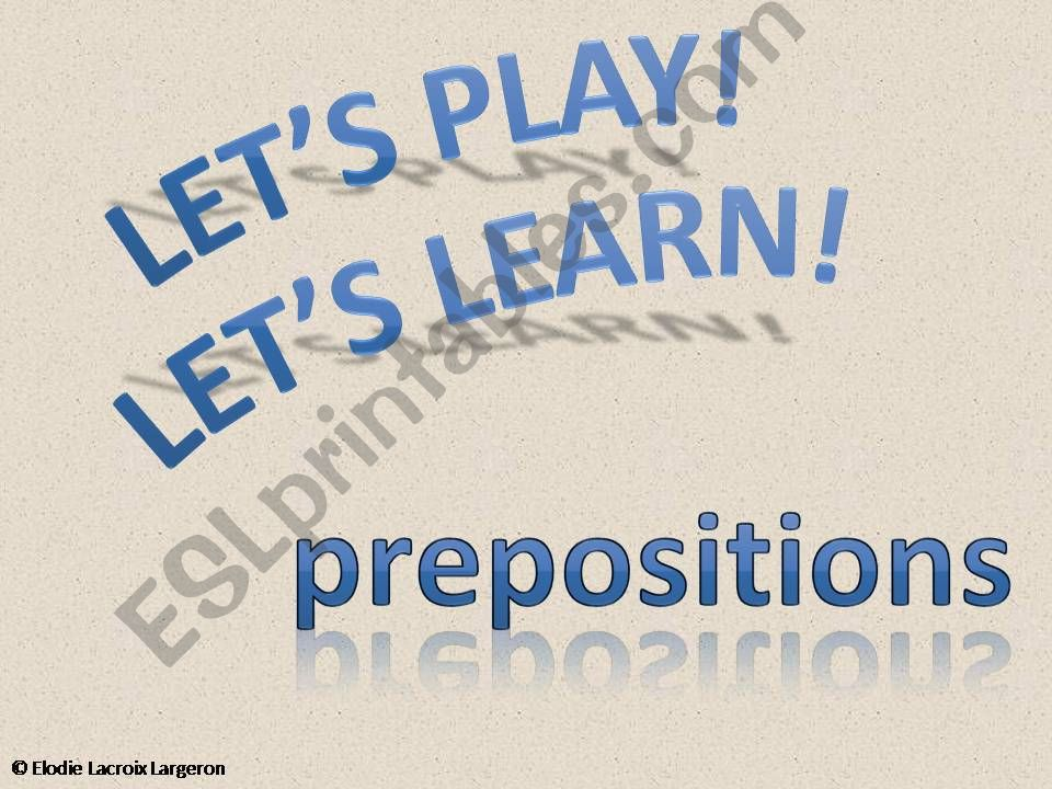 interactive game - prepositions