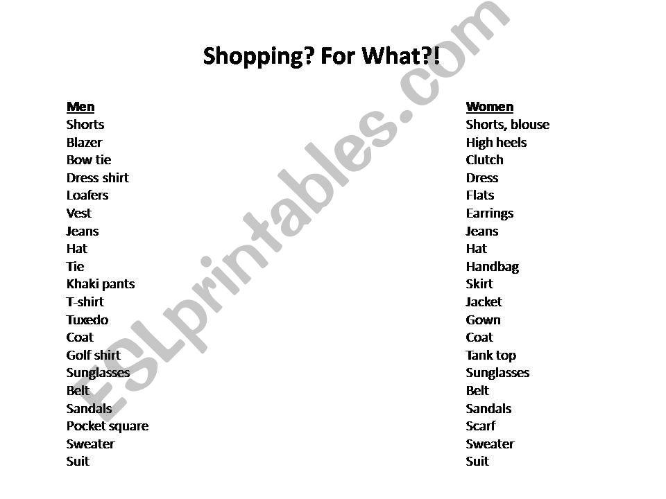 Clothing Vocab: Presentation powerpoint