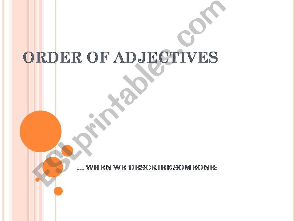 ORDER OF ADJECTIVES powerpoint