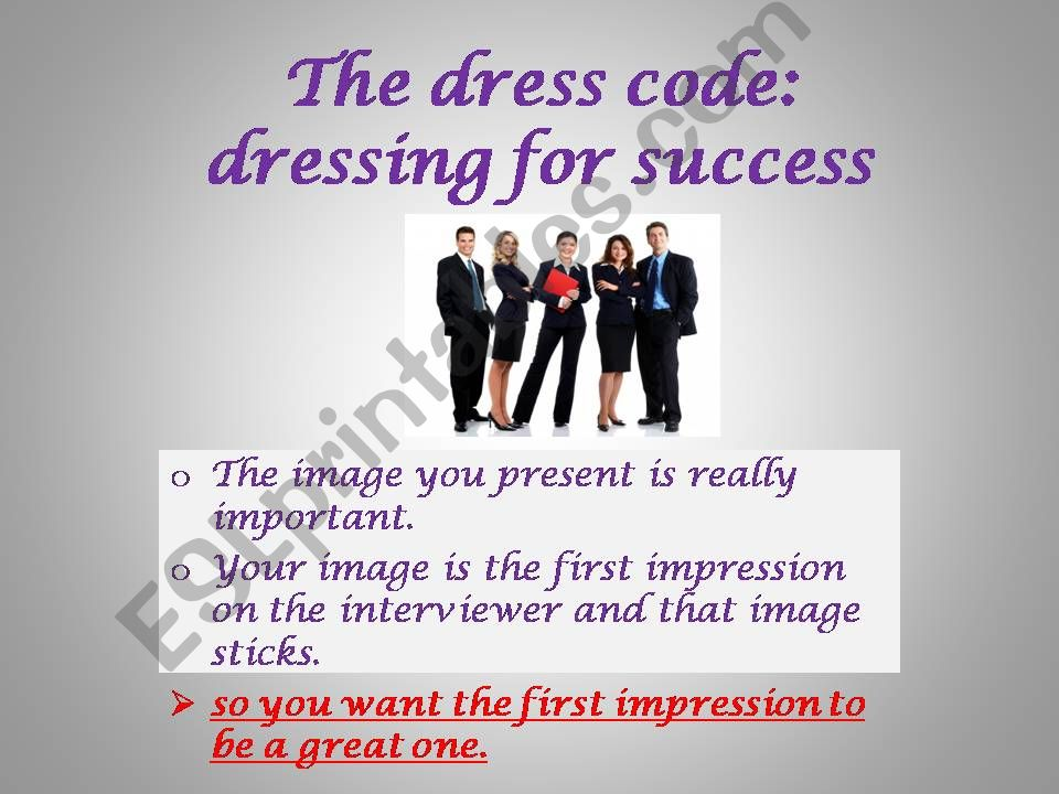 the dress code powerpoint