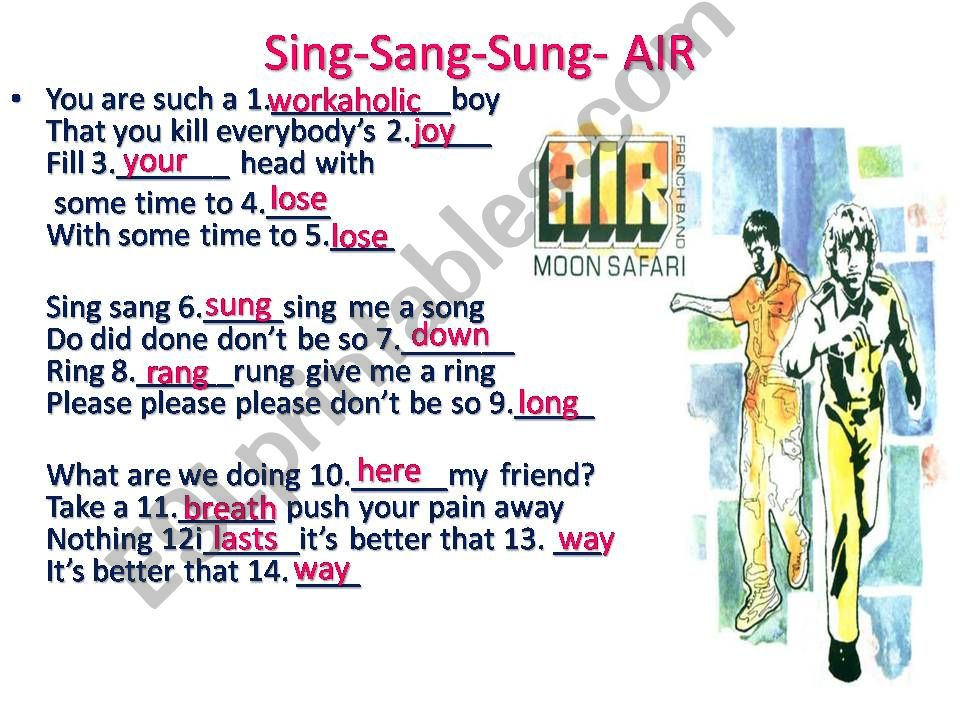 Song: Air- Sing Sang Sung powerpoint