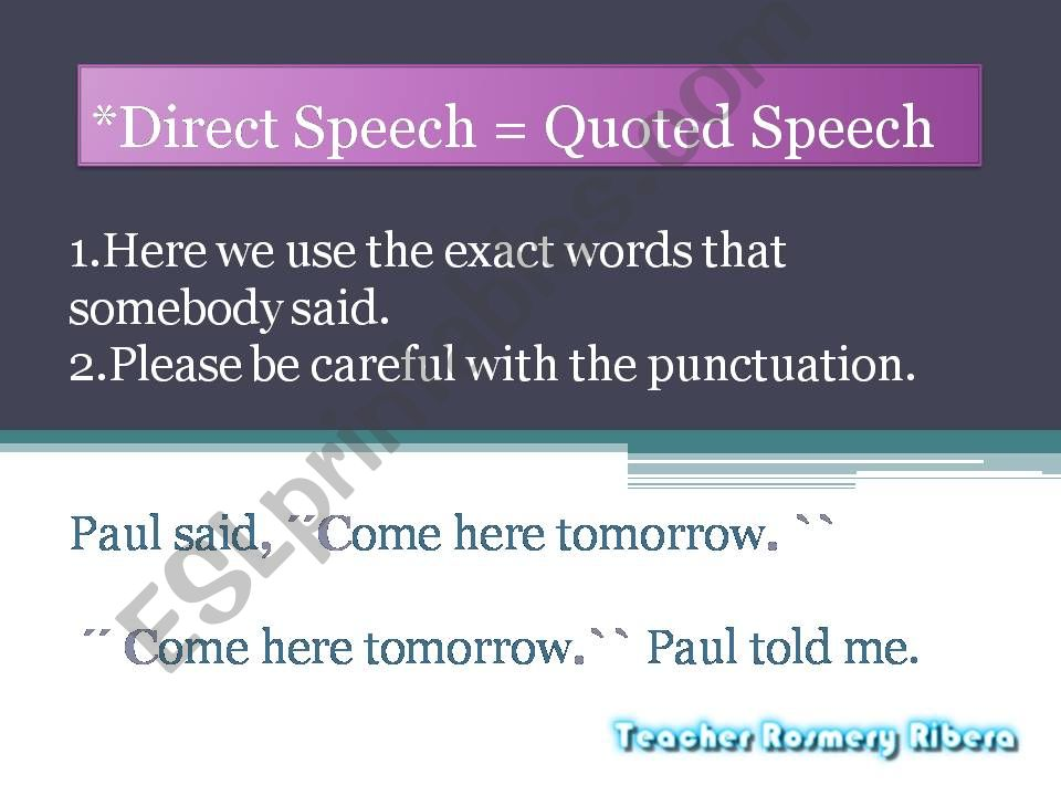 Direct Speech  AND Reported Speech ALL THAT CHANGES!!