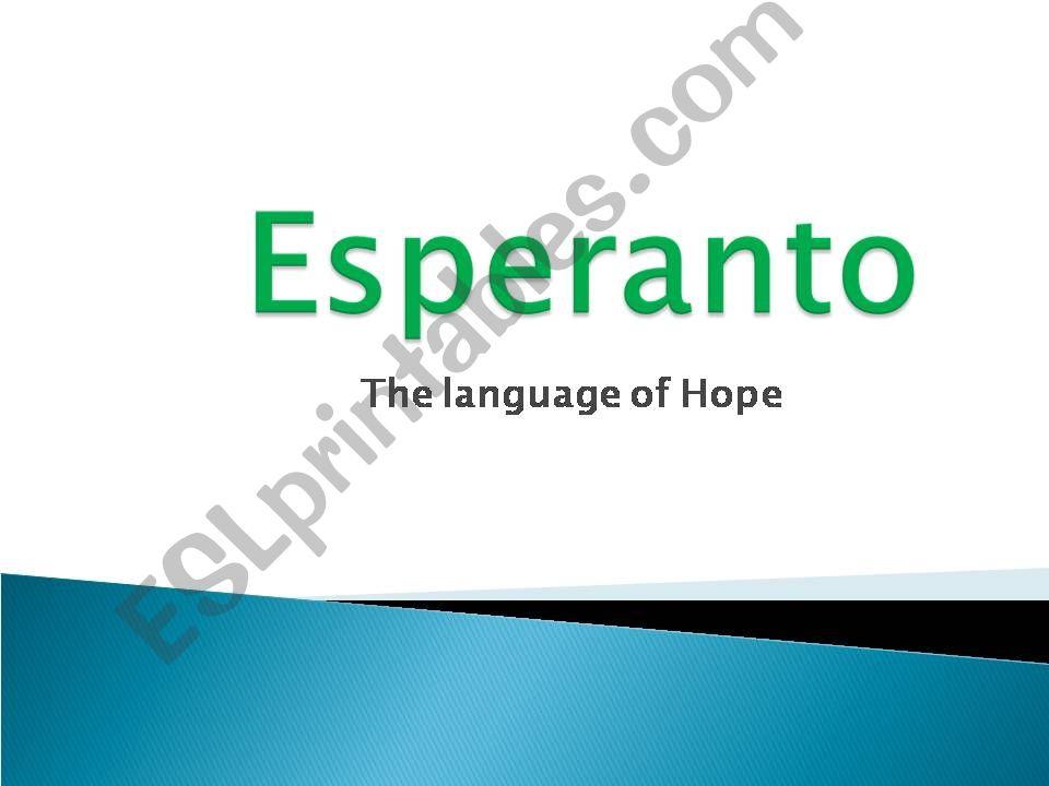Esperanto-Language of hope powerpoint