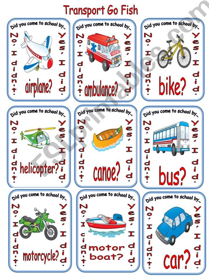 Transportation Go Fish powerpoint