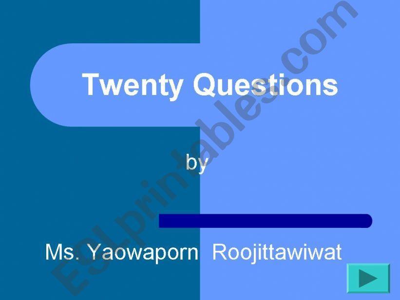 Twenty Questions powerpoint