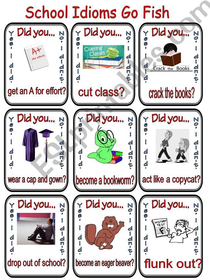 School Idioms Go Fish powerpoint