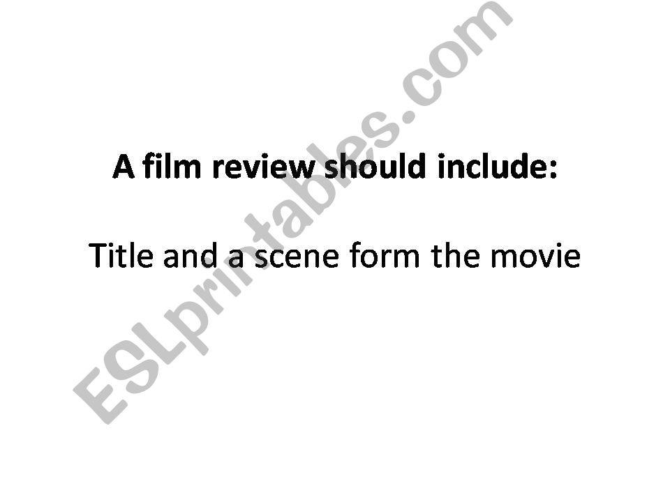 movie review criteria powerpoint