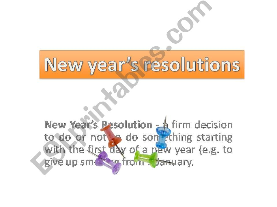 New year´s resolutions part I powerpoint