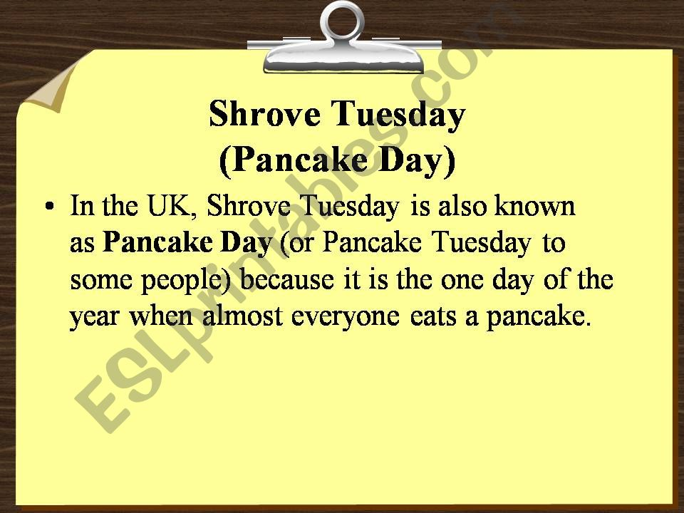Pancake Day in the UK powerpoint