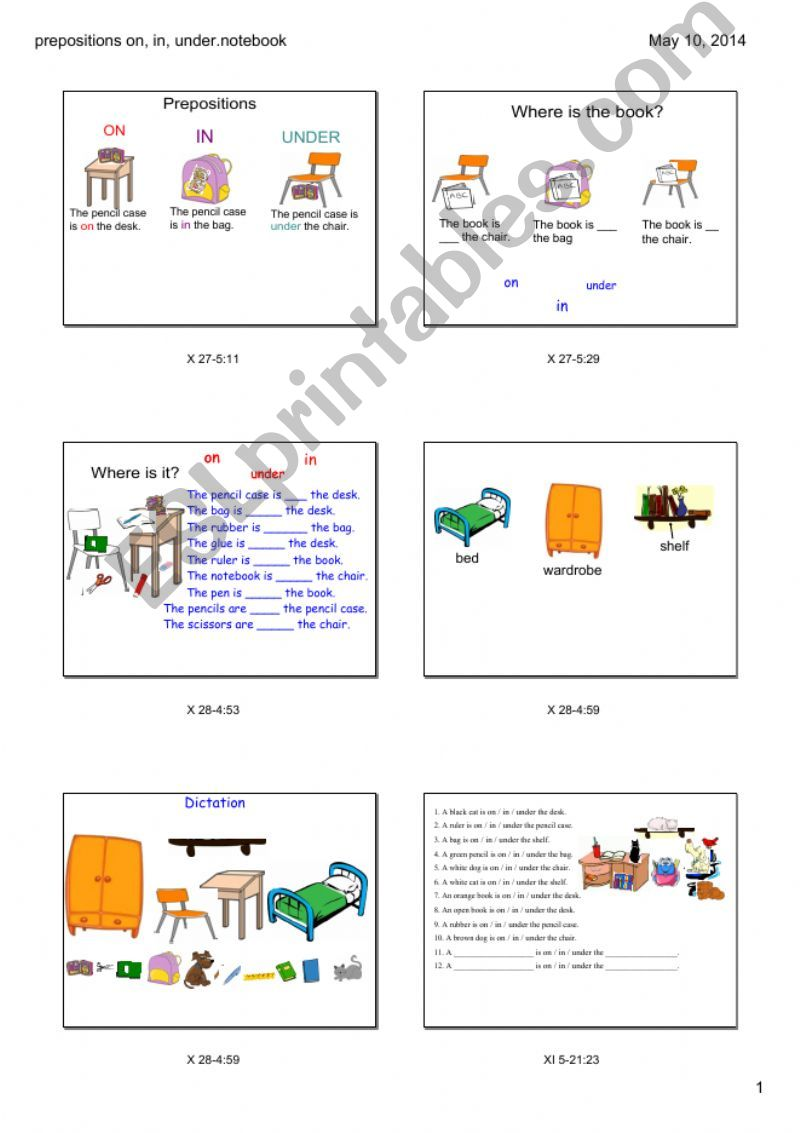 Prepositions on, in, under powerpoint