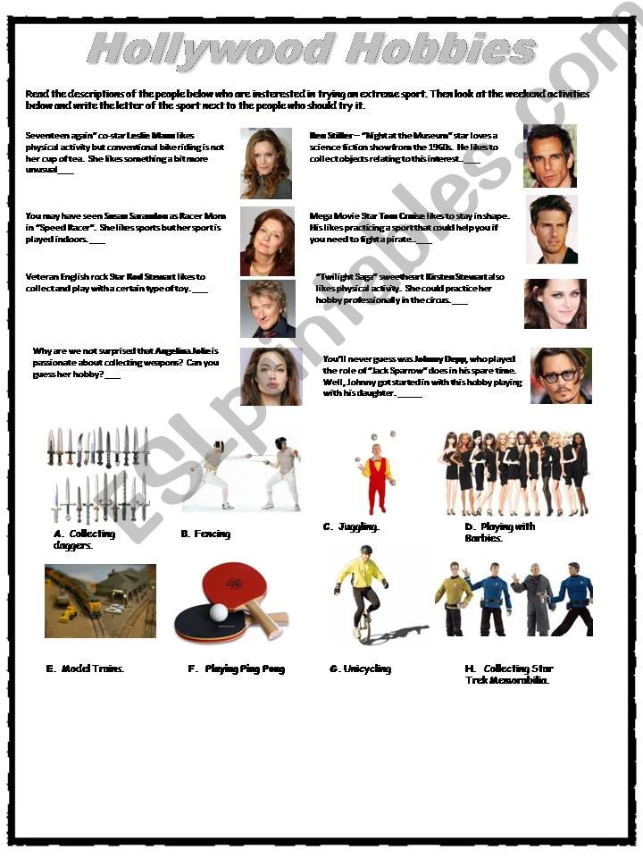 Hollywood Hobbies powerpoint