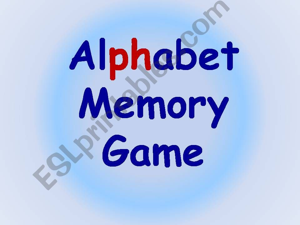 Alphabet Memory game powerpoint