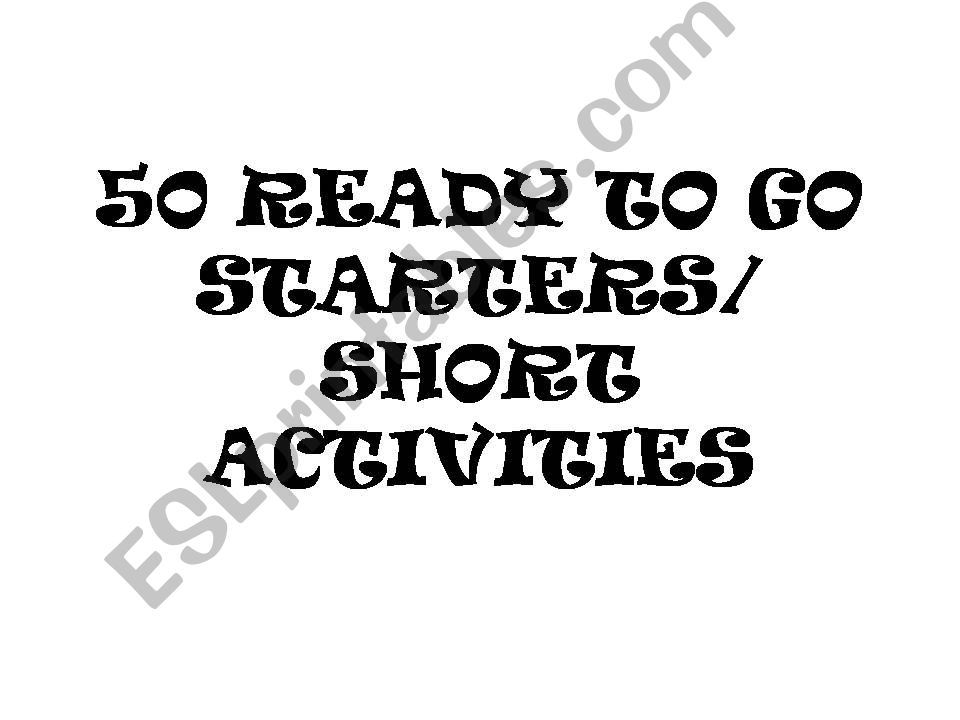50+ Activities for ESL powerpoint