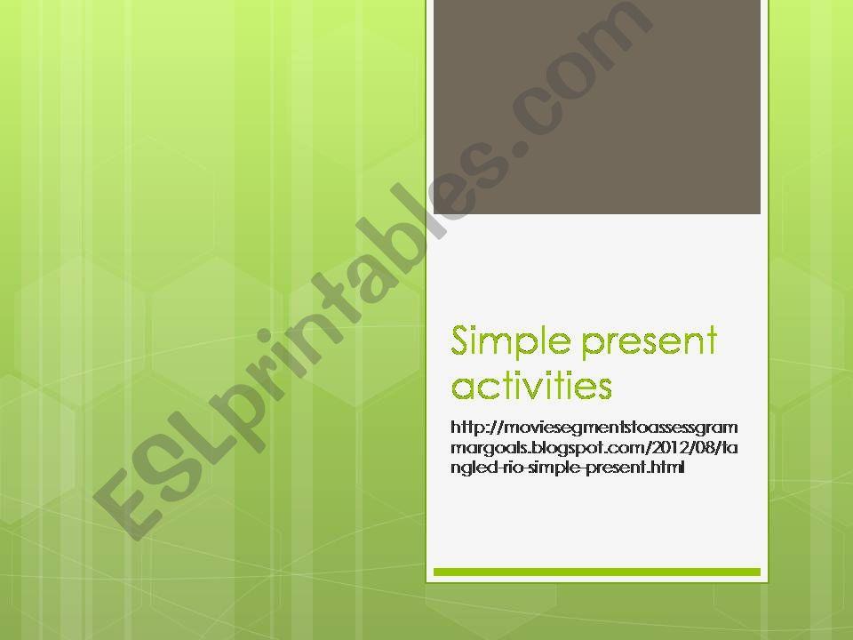 Simple present movie segment powerpoint