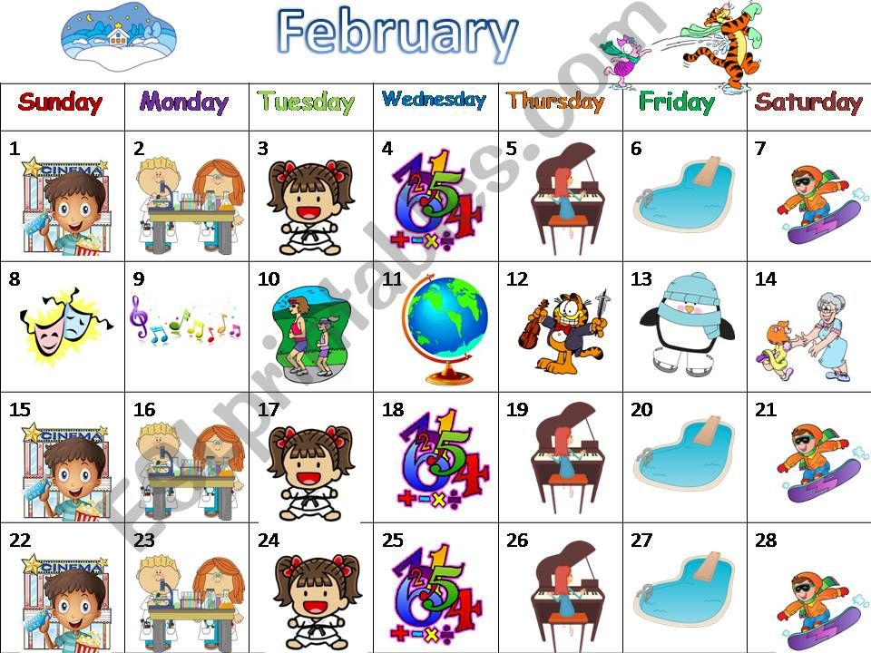 A calendar with lots of activities (4 seasons) to practise speaking/writing