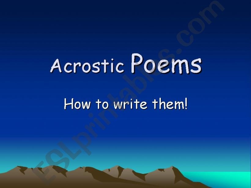 How to write an acrostic poem powerpoint