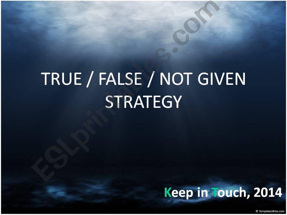 true / false / not given strategy