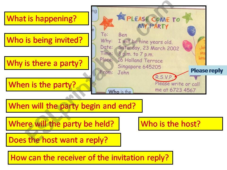 Esl English Powerpoints Birthday Invitation Card With