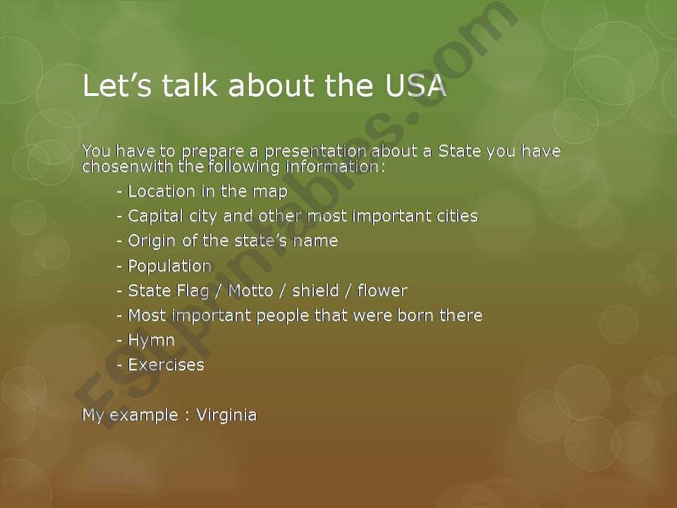 USA States project: Virginia powerpoint