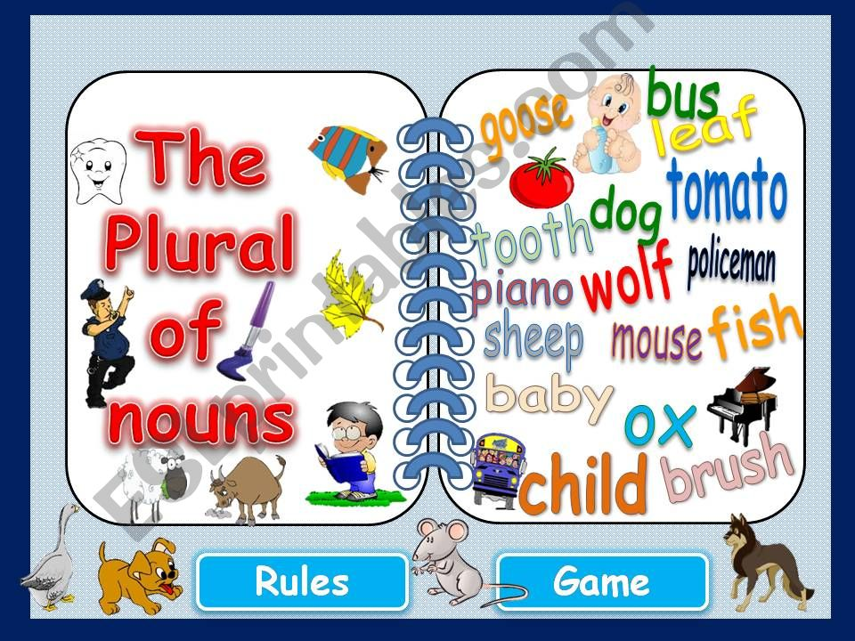 PLURAL NOUNS - Rules & Game powerpoint