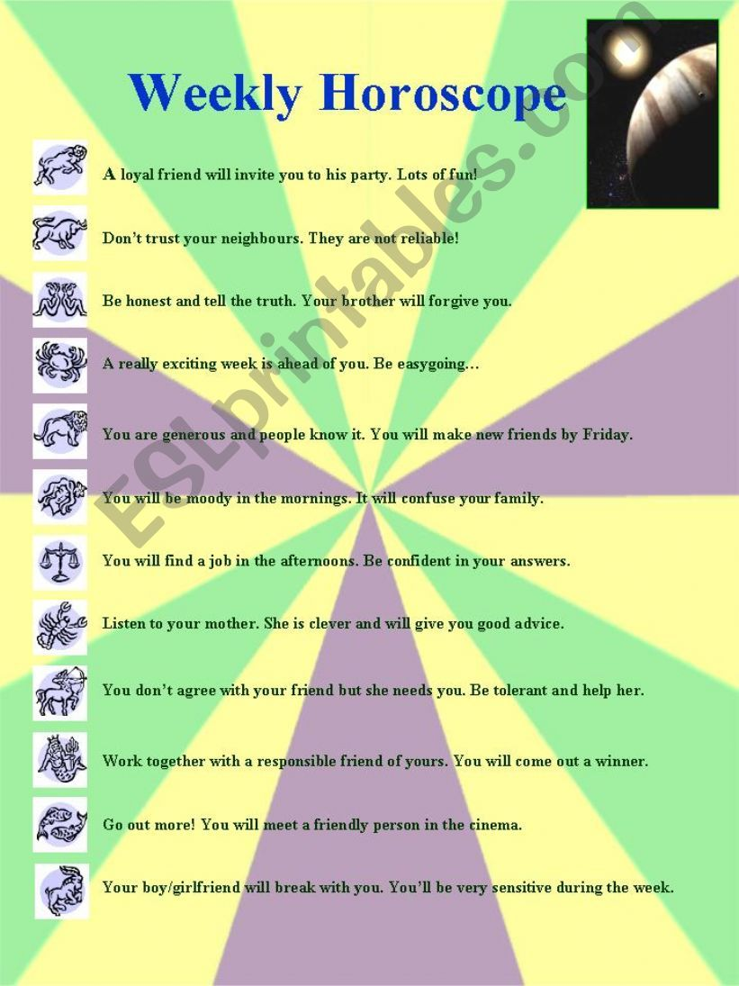 Weekly Horoscope:  Printable worksheet on adjectives of personality