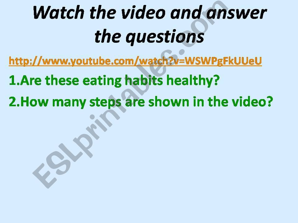 ESL - English PowerPoints: Healthy Eating Habits and Healthy