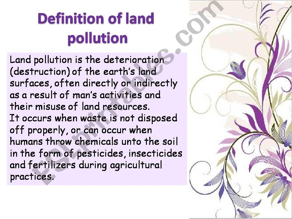 Noise and Land Pollution Causes , Effects and Solutions    (part3)