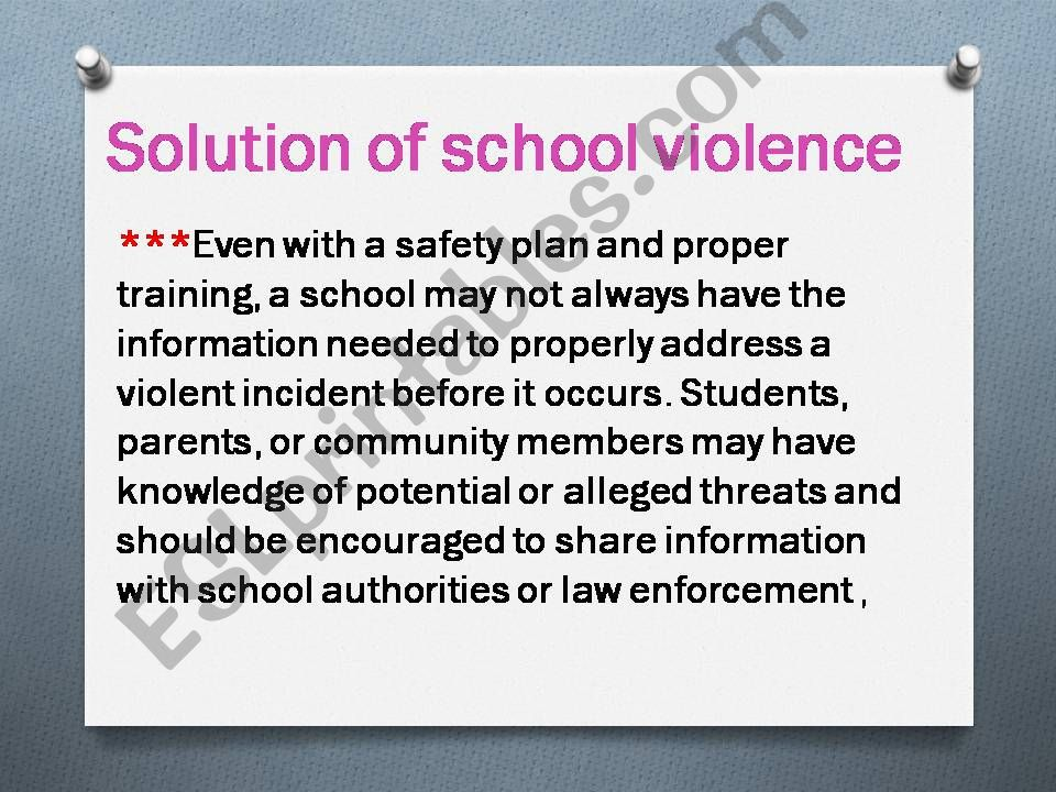 School violence( part 2)    roles of teachers and solutions