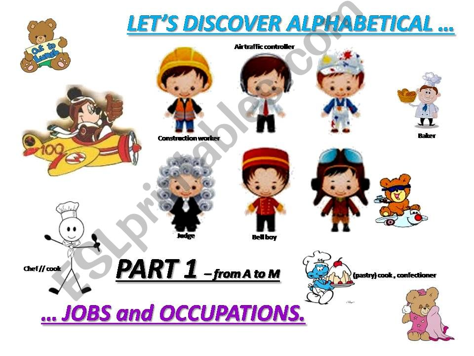 JOBS and OCCUPATIONS - vocabulary and exercises - part 1 From A to M