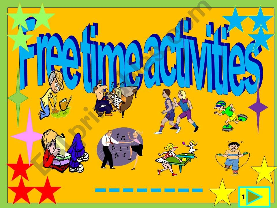 Free time activities multiple choice activity with animation