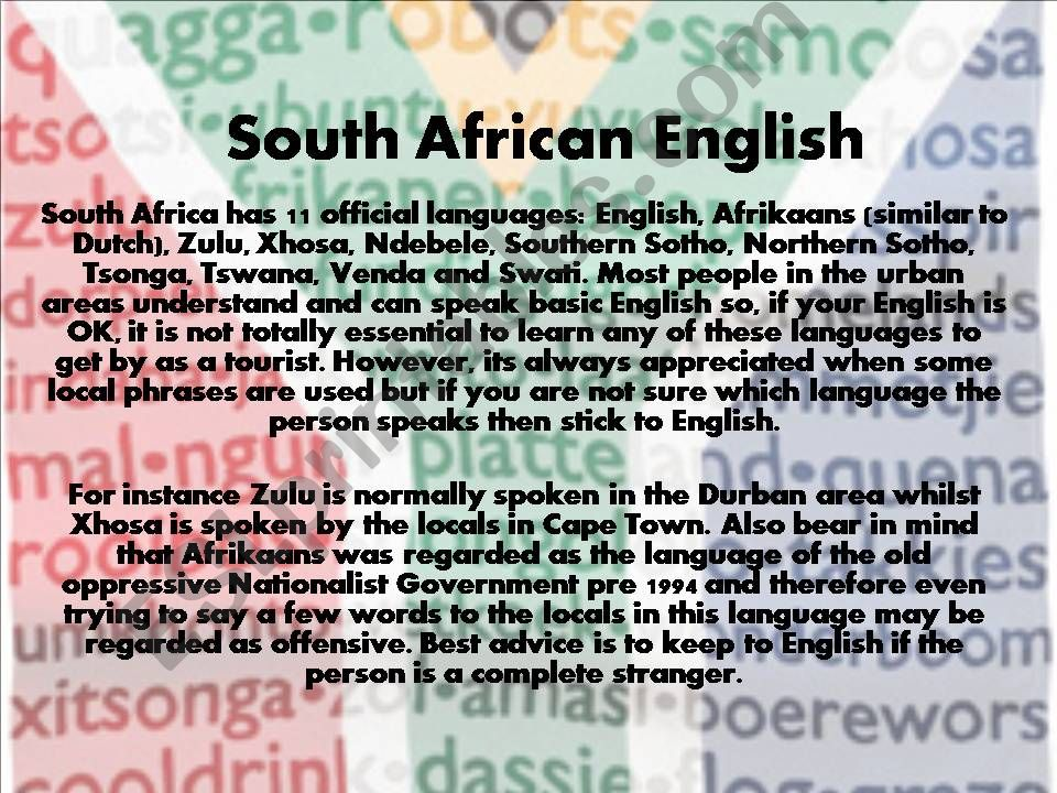 South African English powerpoint