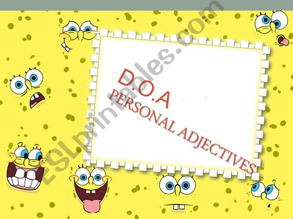 Adjectives of personality powerpoint