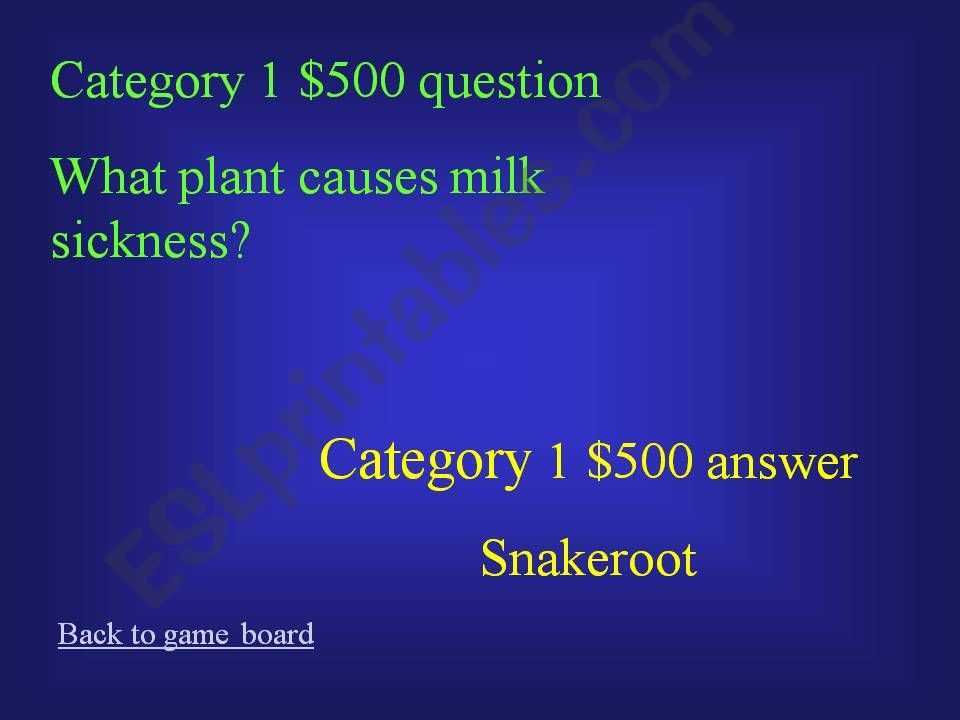 ESL - English PowerPoints: Lincoln Jeopardy Game