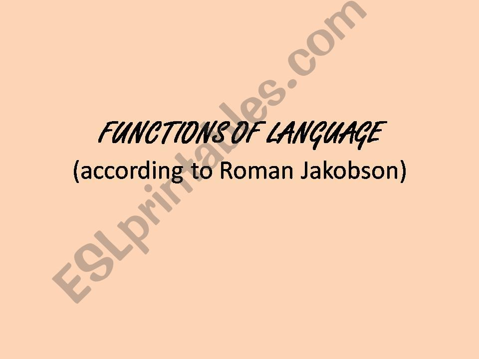 Functions of Language powerpoint