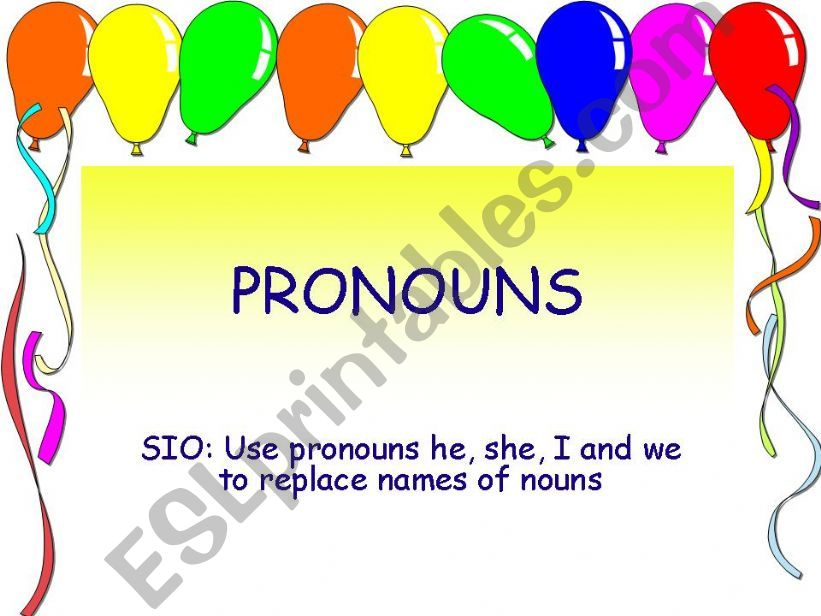 Pronouns - he, she, I and we powerpoint