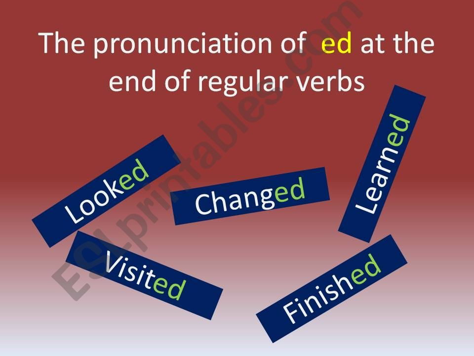 The pronunciation of ´ed´ or regular verbs in the simple past