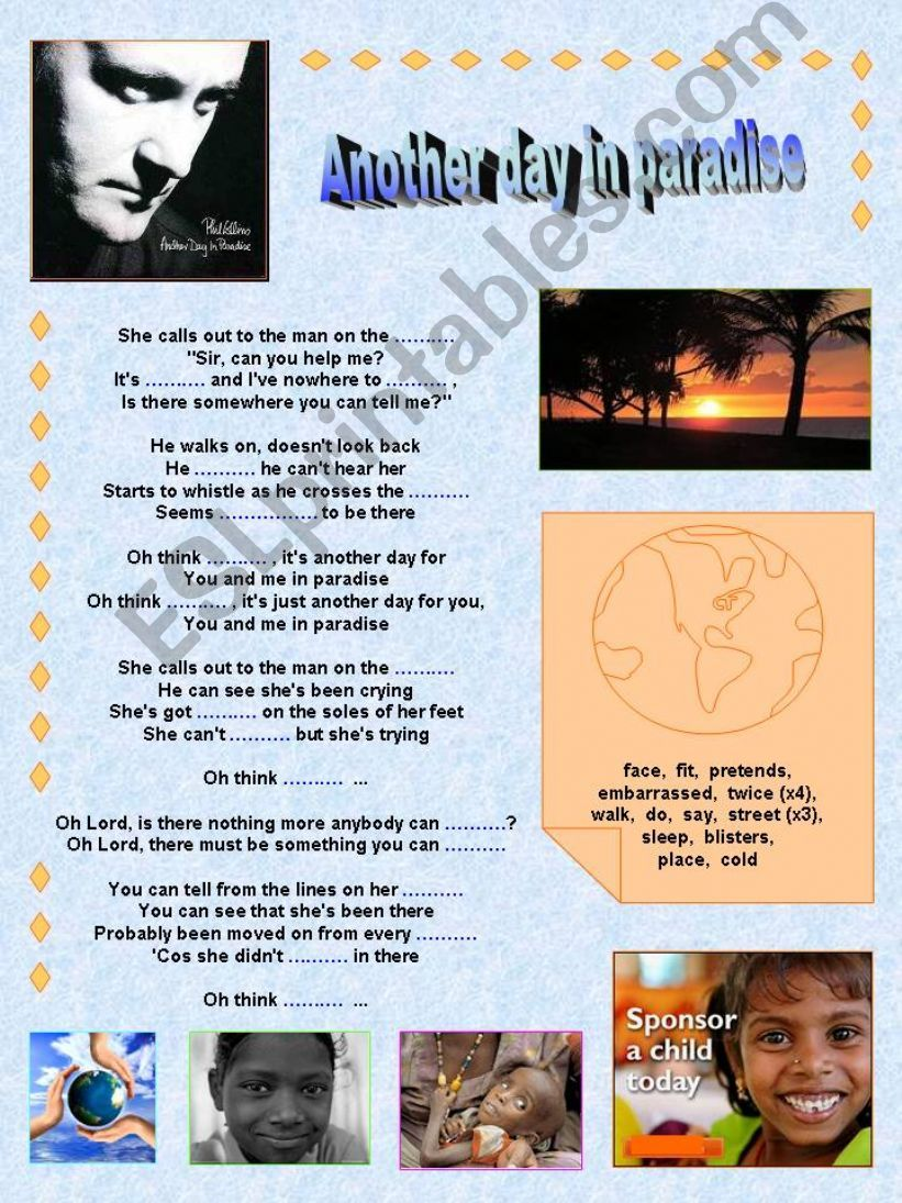 Phil Collins: Another day in paradise. Printable Song + Printable Flashcards + Printable Factsheet (Raising awareness).