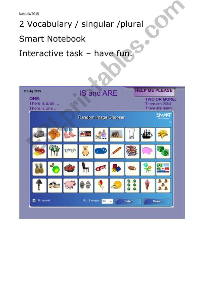 ESL - English PowerPoints: Vocabulary nouns plural singular 2/5
