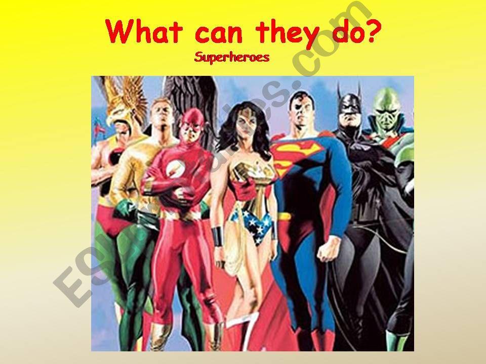 esl english powerpoints superheroes
