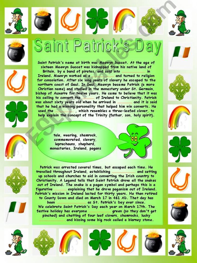 Saint Patrick´s Day:  Printable complete-the-gaps reading, Printable comprehensive word search, Printable quiz and two Printable factsheets