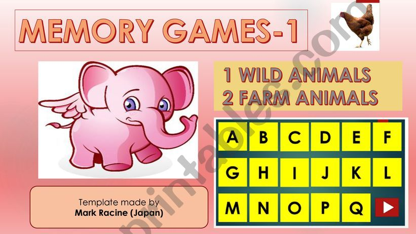 Memory (Matching) games SET1 - WILD ANIMALS, FARM ANIMALS