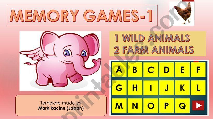 Memory (Matching) games SET1 - WILD ANIMALS, FARM ANIMALS