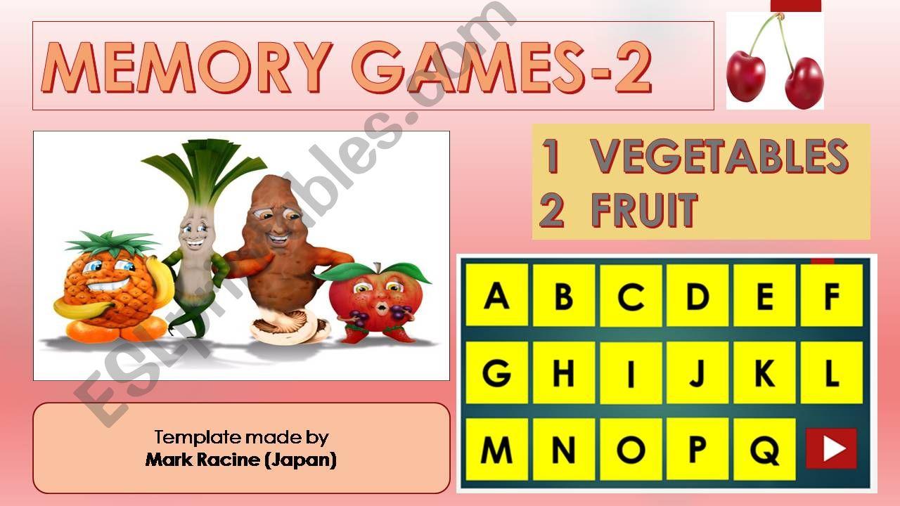 Memory (Matching) games SET2 - VEGETABLES, FRUIT
